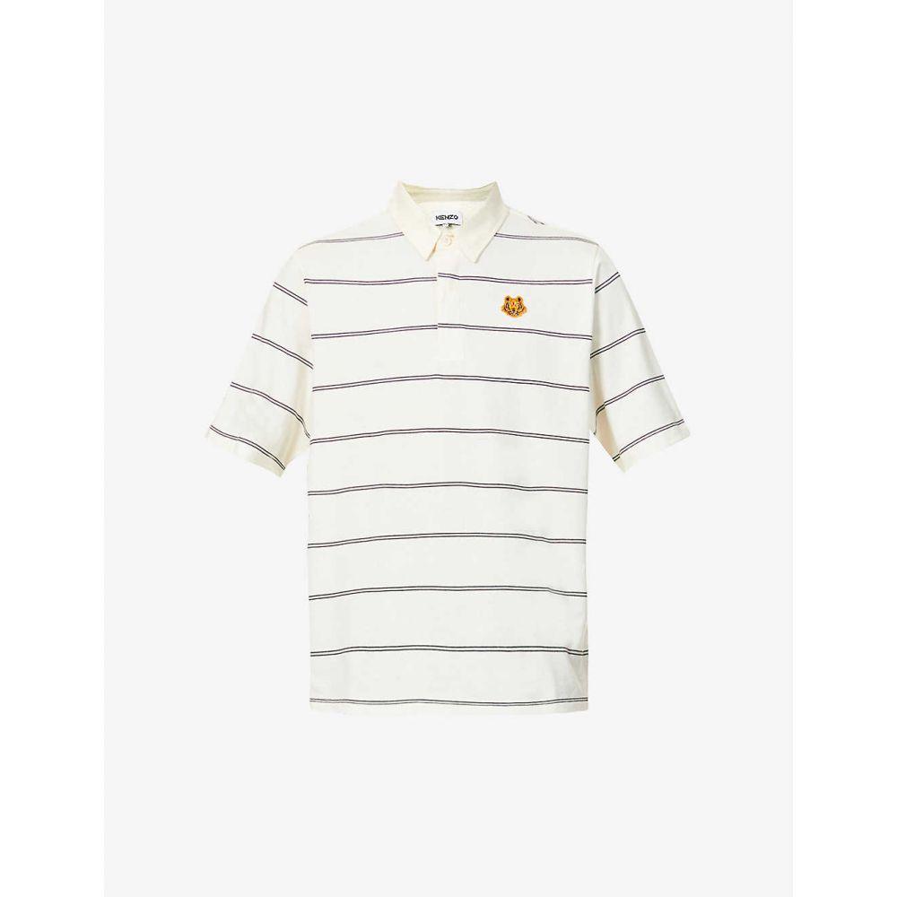 ケンゾー KENZO メンズ ポロシャツ トップス【Striped cotton-jersey polo shirt】Ecru