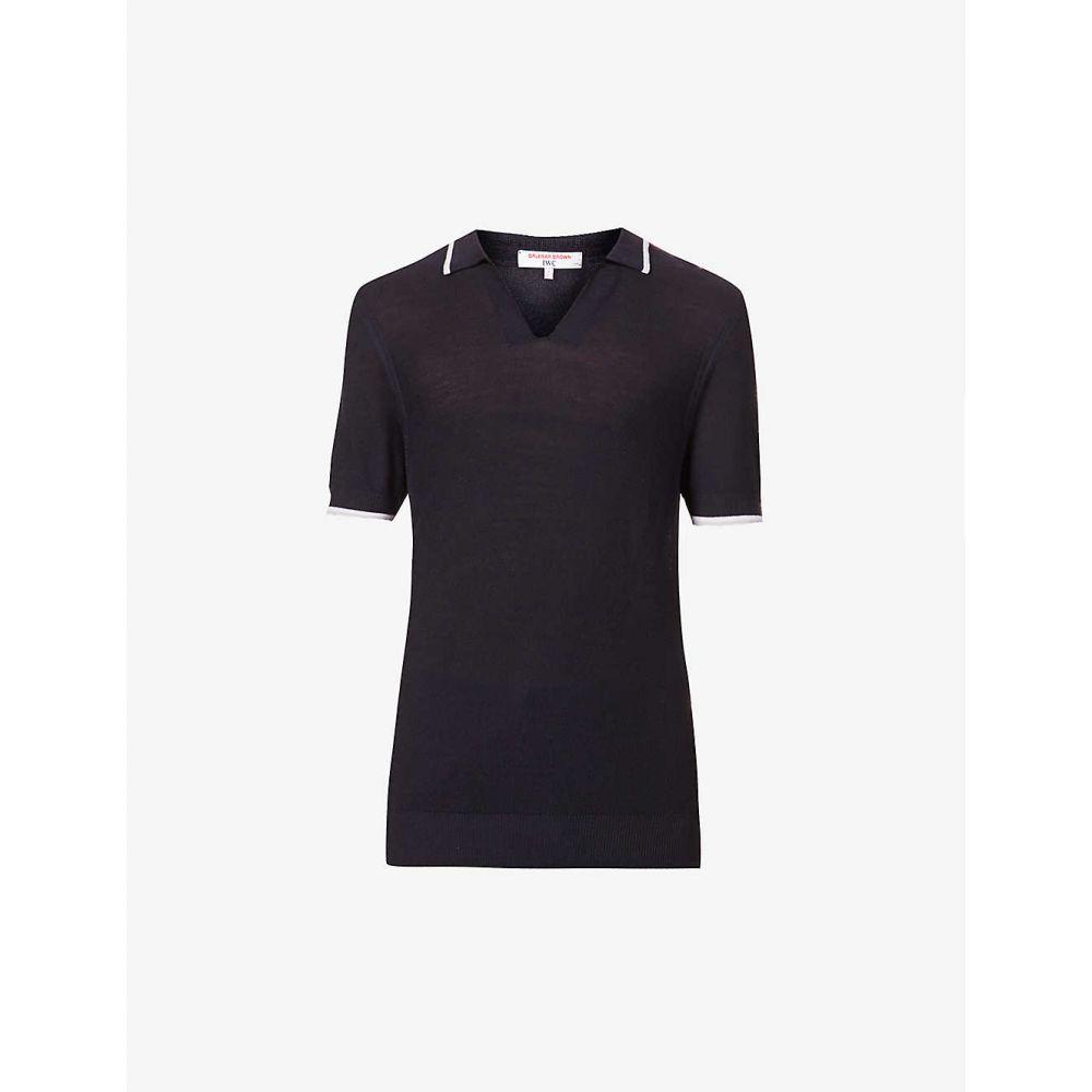 オールバー ブラウン ORLEBAR BROWN メンズ ポロシャツ トップス【Mallory striped-trim cotton and silk-blend polo shirt】NAVY