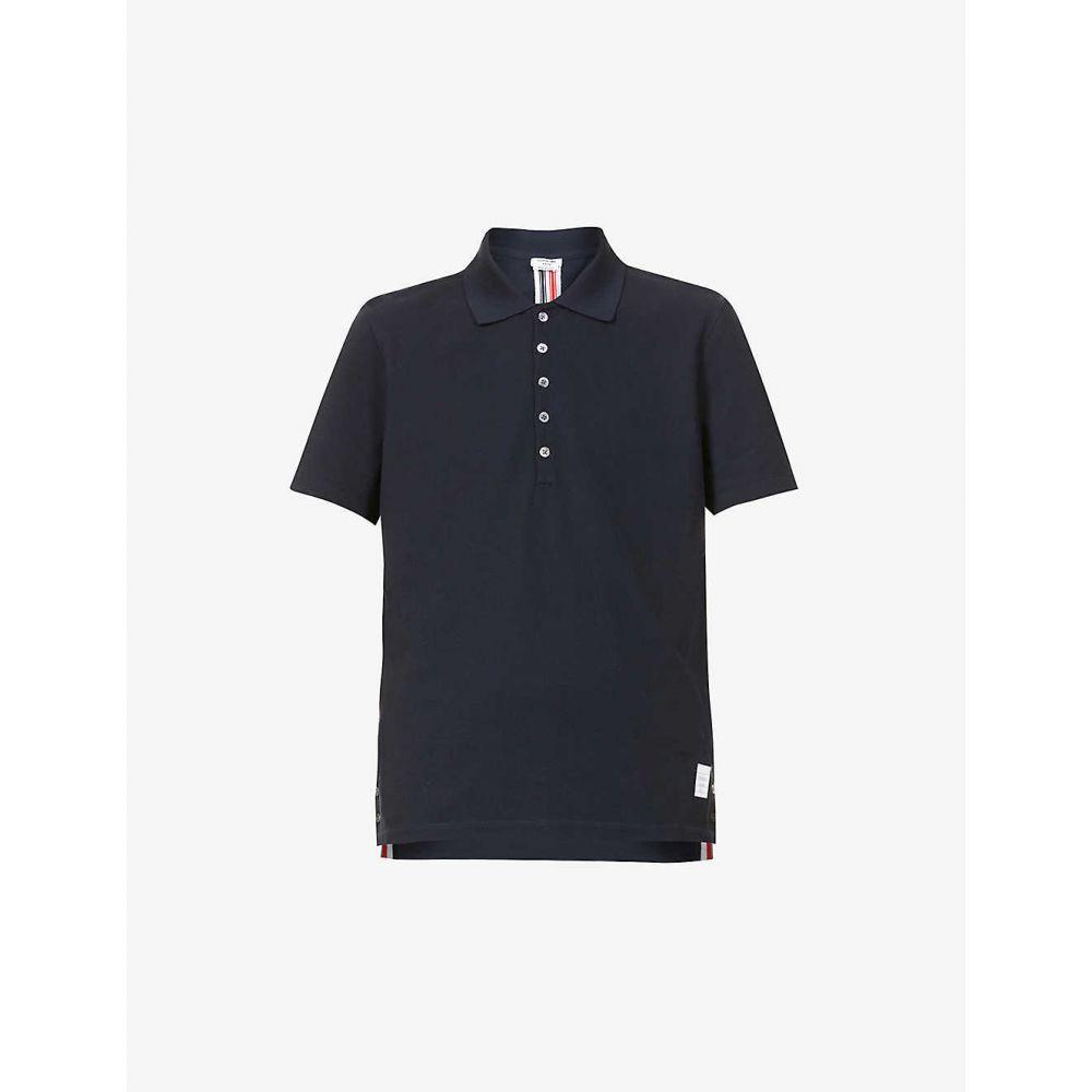 トム ブラウン THOM BROWNE メンズ ポロシャツ トップス【Striped cotton polo shirt】NAVY