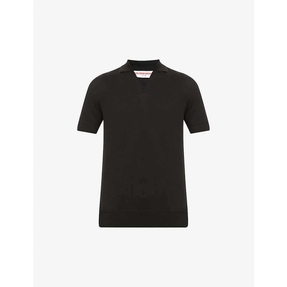 オールバー ブラウン ORLEBAR BROWN メンズ ポロシャツ トップス【Mallory silk and cotton-blend knit polo shirt】BLACK