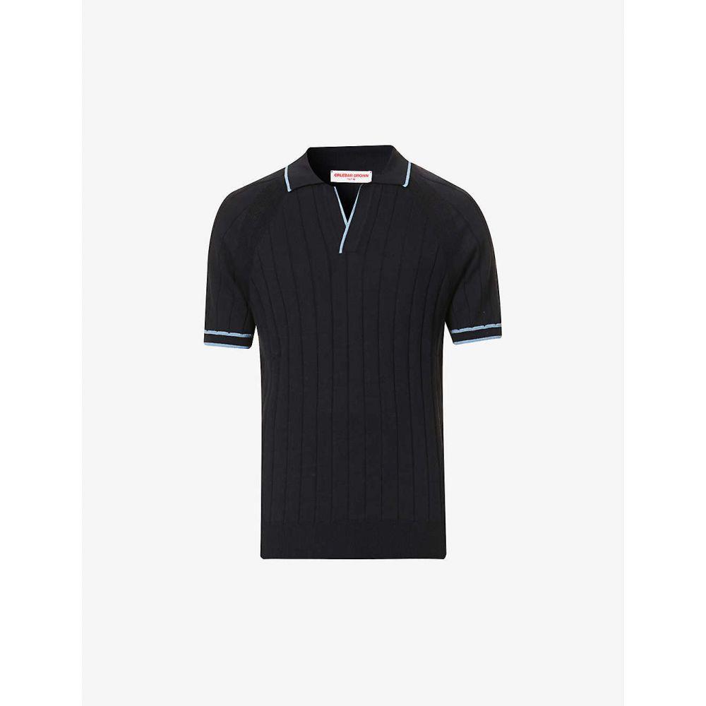 オールバー ブラウン ORLEBAR BROWN メンズ ポロシャツ トップス【Mallory cotton and silk-blend knit polo shirt】Navy/light Blue Haze