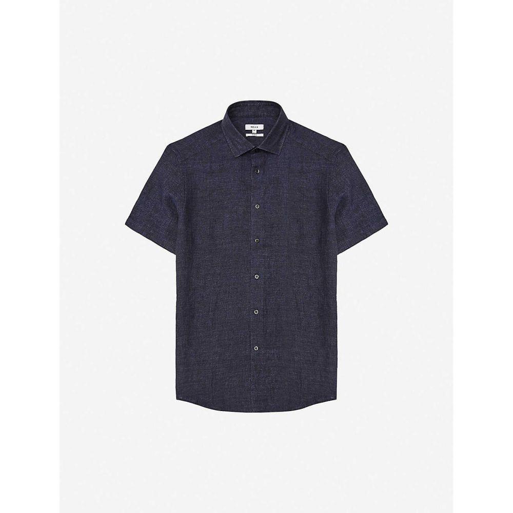 リース REISS メンズ 半袖シャツ トップス【Holiday short-sleeved collared linen shirt】NAVY