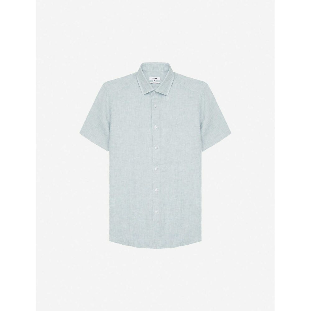 リース REISS メンズ 半袖シャツ トップス【Holiday short-sleeved collared linen shirt】GREEN