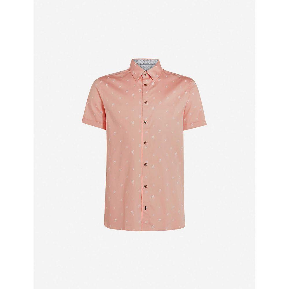 テッドベーカー TED BAKER メンズ 半袖シャツ トップス【Tropical graphic-print stretch-cotton shirt】CORAL