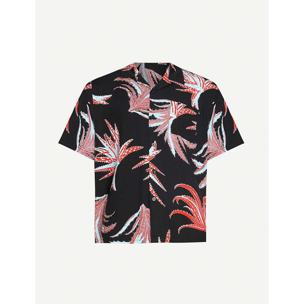 ステューシー STUSSY メンズ 半袖シャツ トップス【Cactus-print boxy-fit woven shirt】BLACK