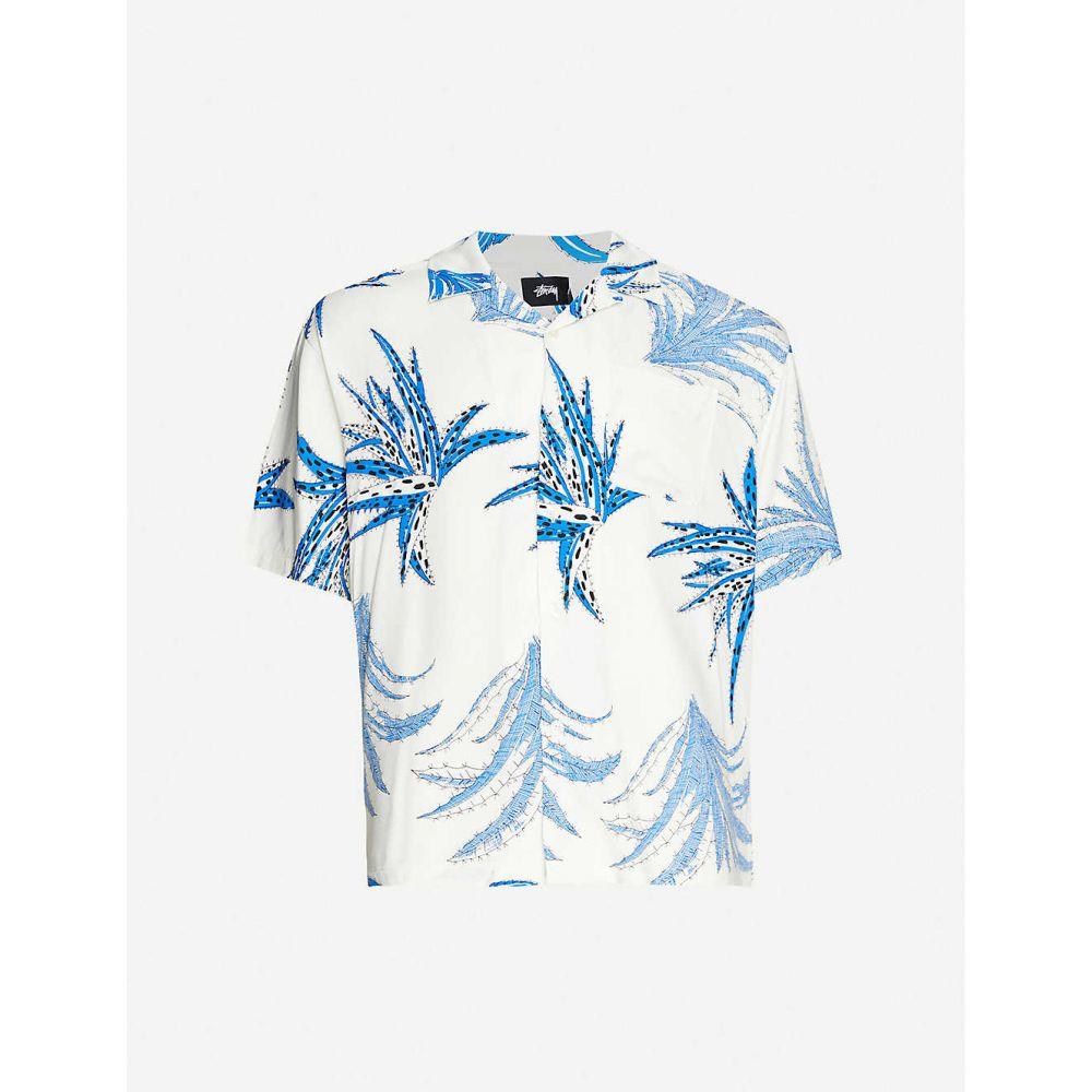 ステューシー STUSSY メンズ 半袖シャツ トップス【Cactus-print boxy-fit woven shirt】WHITE