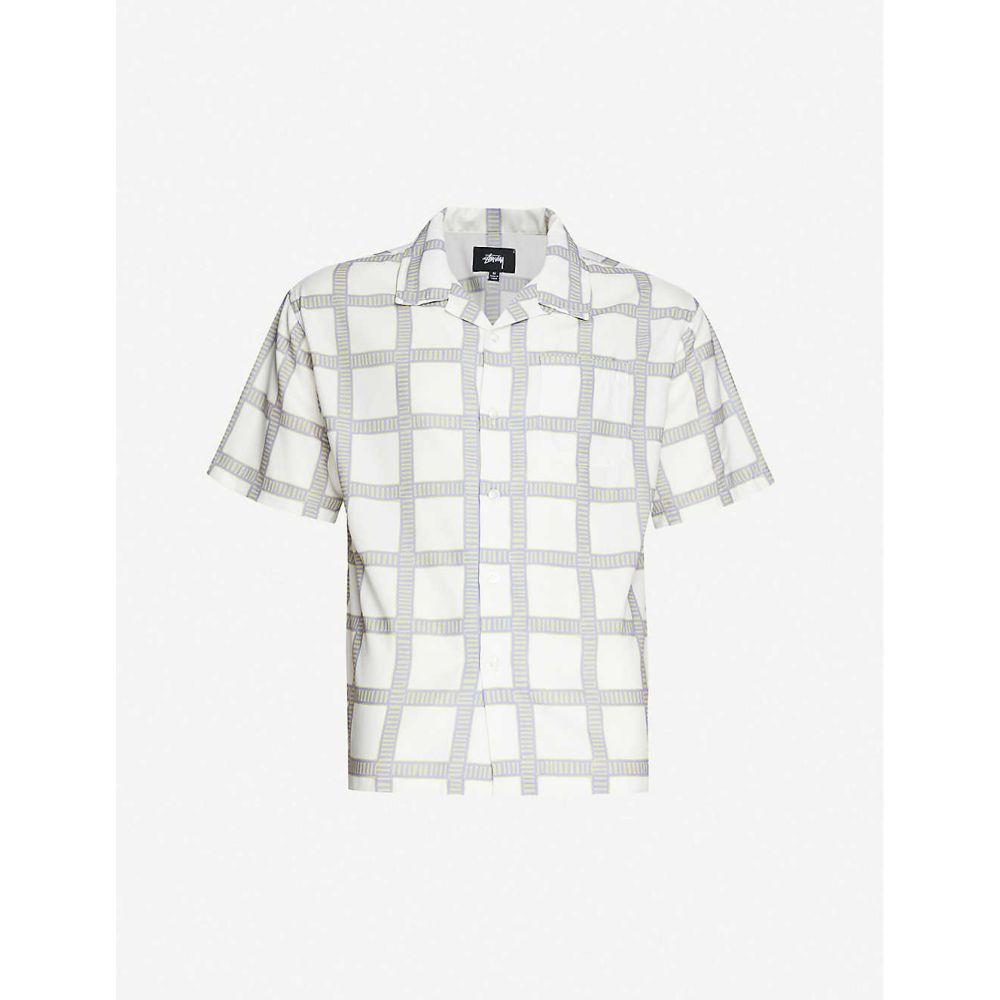ステューシー STUSSY メンズ 半袖シャツ トップス【Checked boxy-fit crepe shirt】OFF WHITE