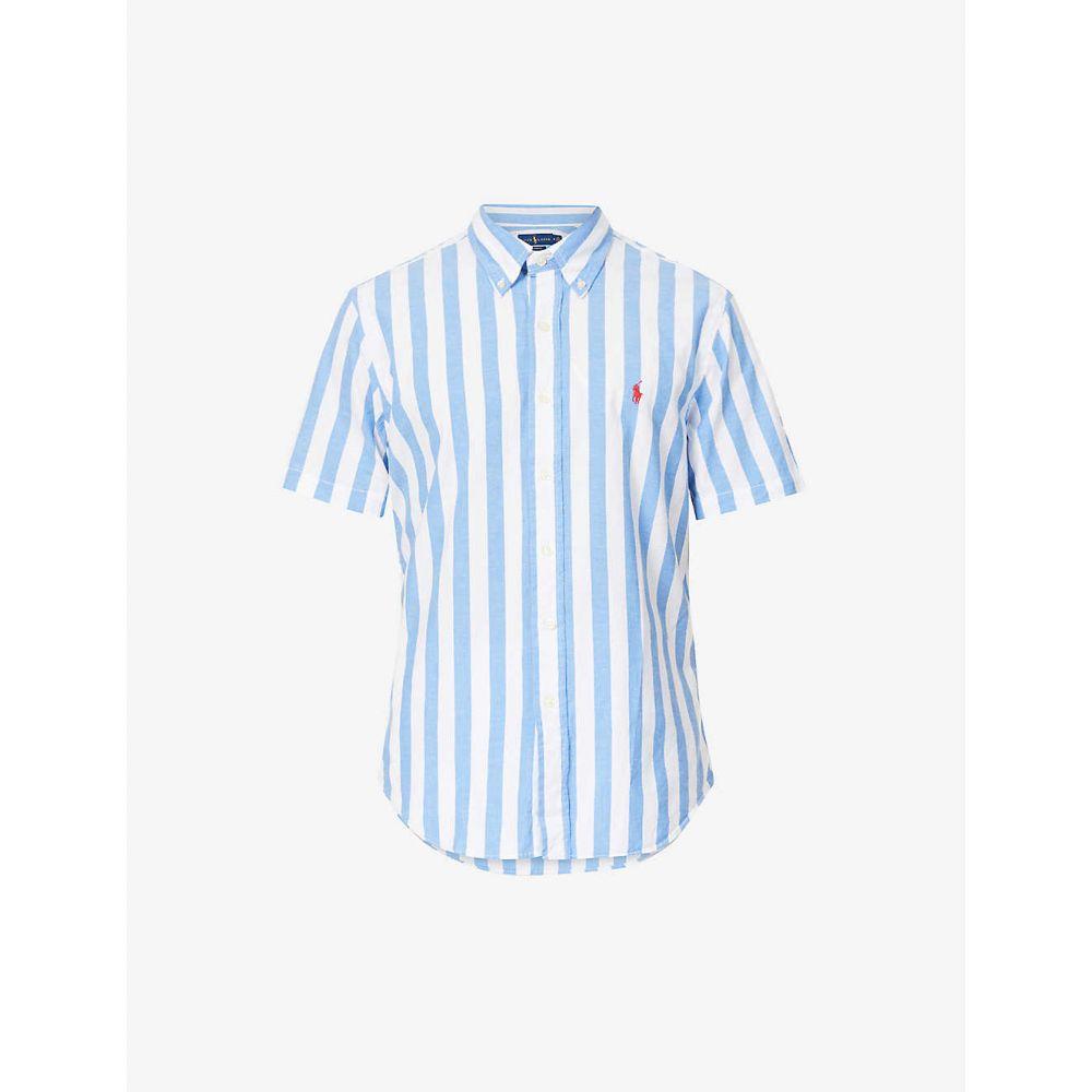 ラルフ ローレン POLO RALPH LAUREN メンズ 半袖シャツ トップス【Beach striped cotton shirt】BLUE