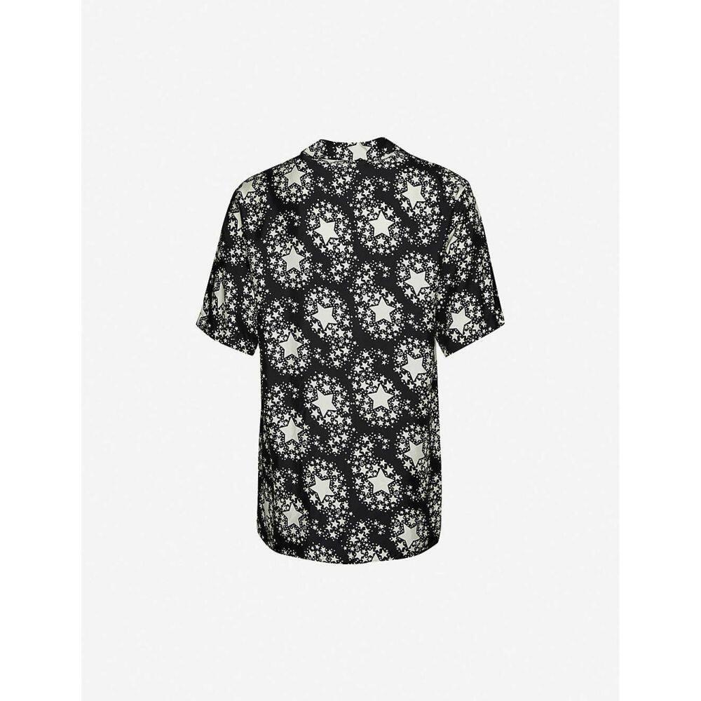 グッチ GUCCI メンズ 半袖シャツ トップス【Star-print silk shirt】Medium Grey Cobalt