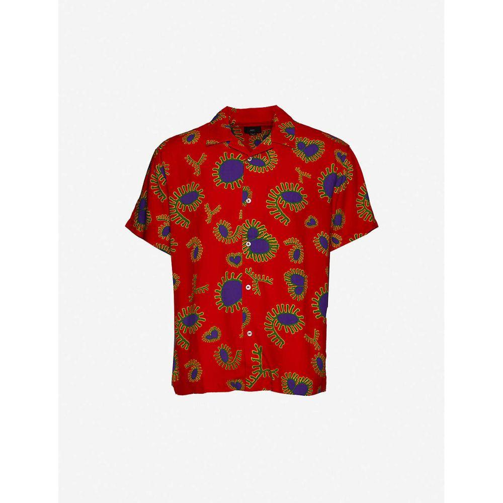 オベイ OBEY メンズ 半袖シャツ トップス【Duster paisley-print crepe shirt】RED MULTI