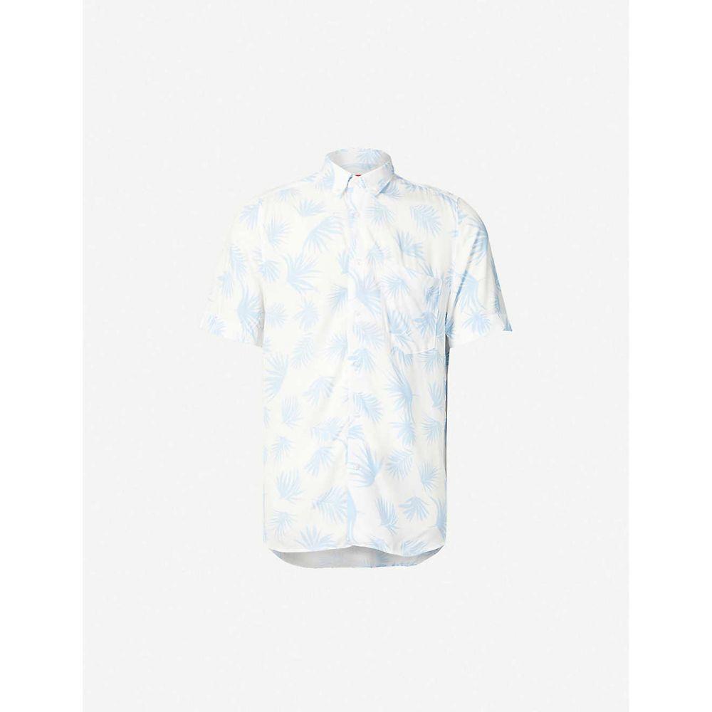 ヒューゴ ボス HUGO メンズ 半袖シャツ トップス【Floral-print regular-fit woven shirt】Open White