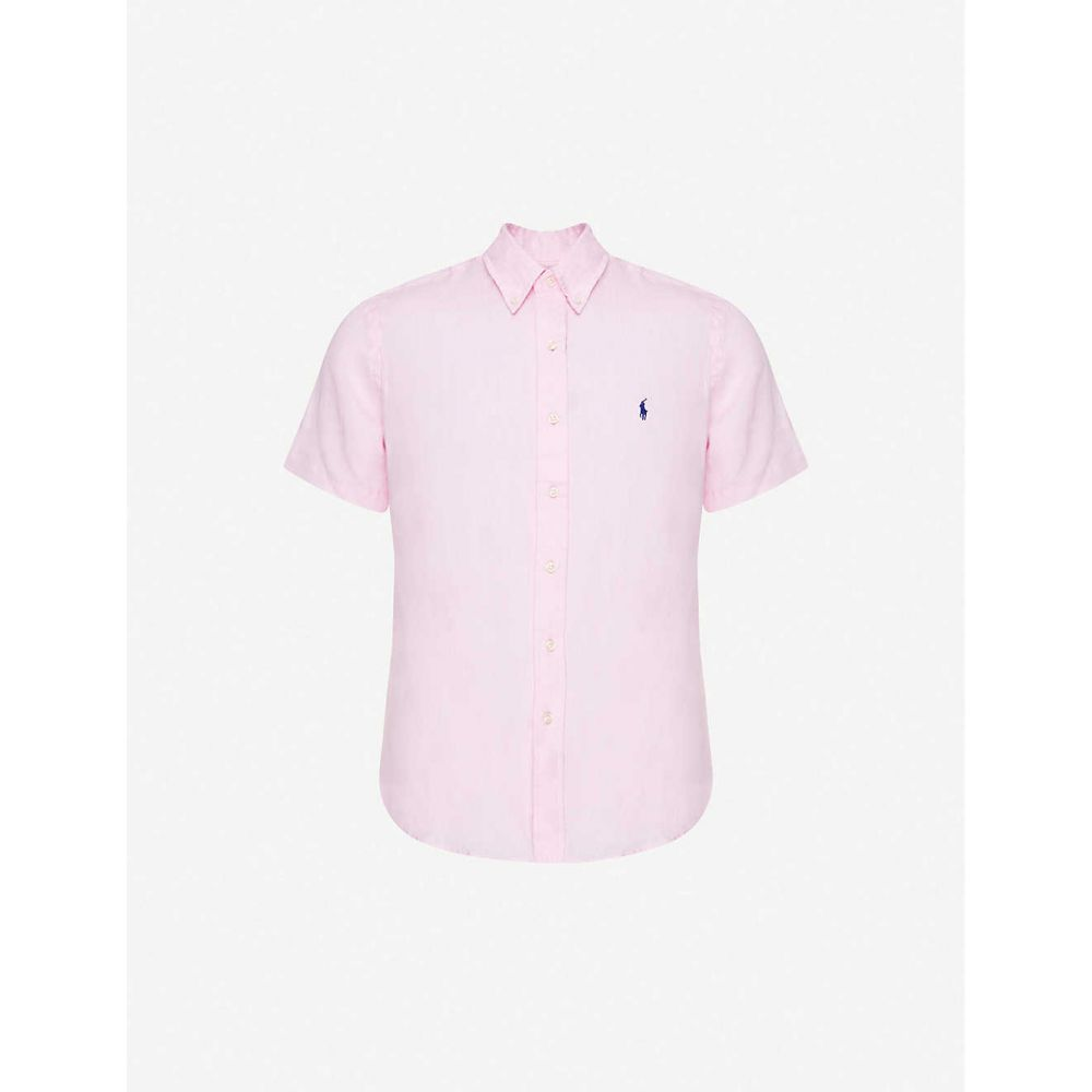 ラルフ ローレン POLO RALPH LAUREN メンズ 半袖シャツ トップス【Logo-embroidered short-sleeve linen shirt】Pink
