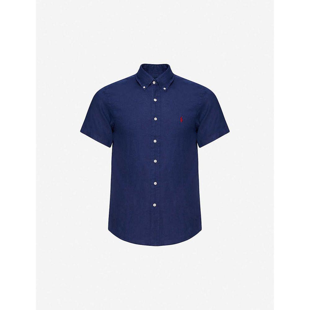 ラルフ ローレン POLO RALPH LAUREN メンズ 半袖シャツ トップス【Logo-embroidered short-sleeve linen shirt】Navy