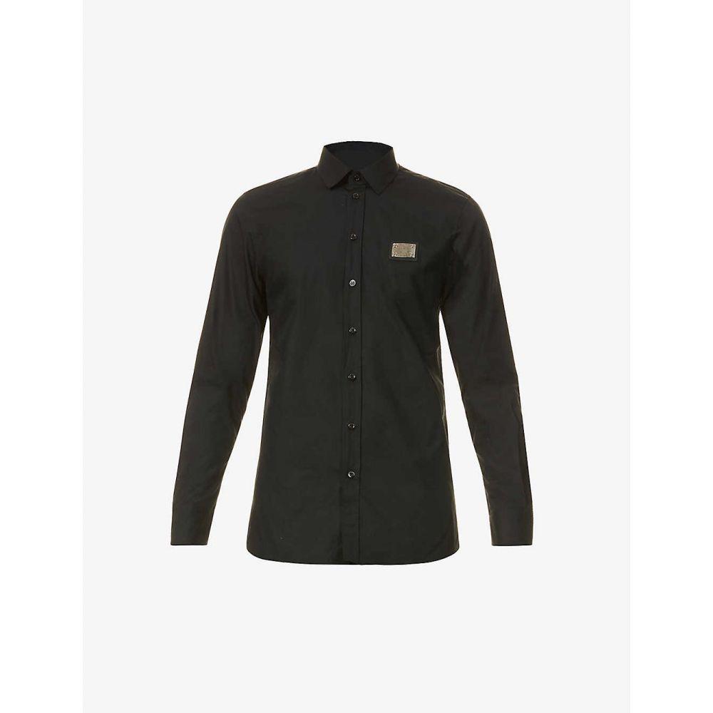 モスキーノ MOSCHINO メンズ シャツ トップス【Plaque-embellished cotton shirt】BLACK