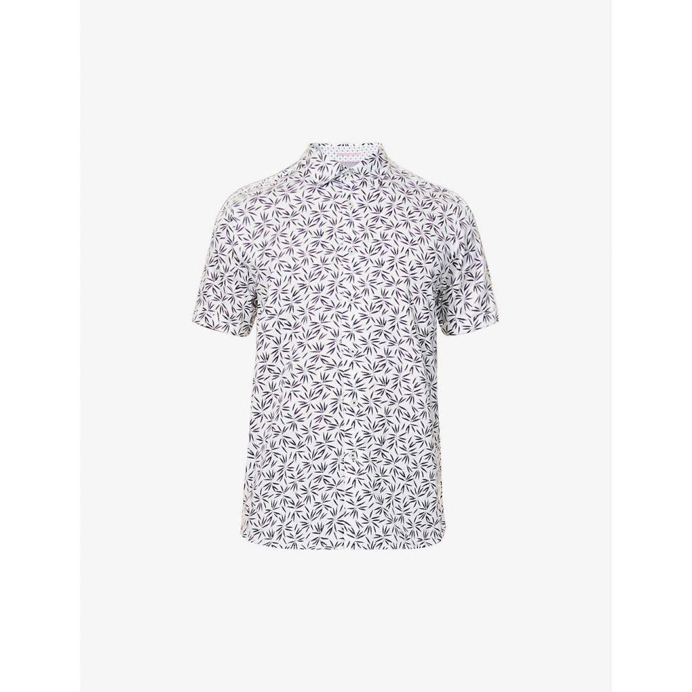 テッドベーカー TED BAKER メンズ 半袖シャツ トップス【Graphic-print stretch-cotton shirt】NAVY