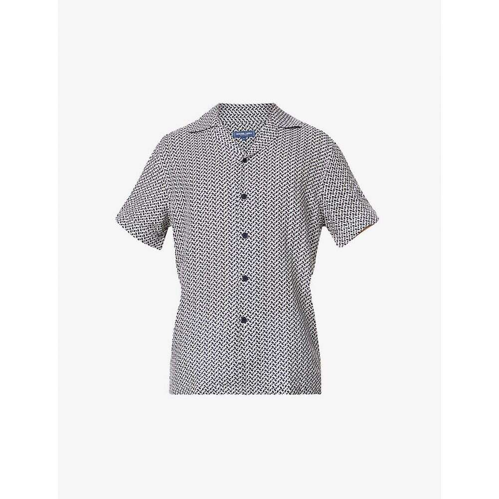 フレスコボールカリオカ FRESCOBOL CARIOCA メンズ 半袖シャツ トップス【Beam geometric-print short-sleeved linen shirt】INK