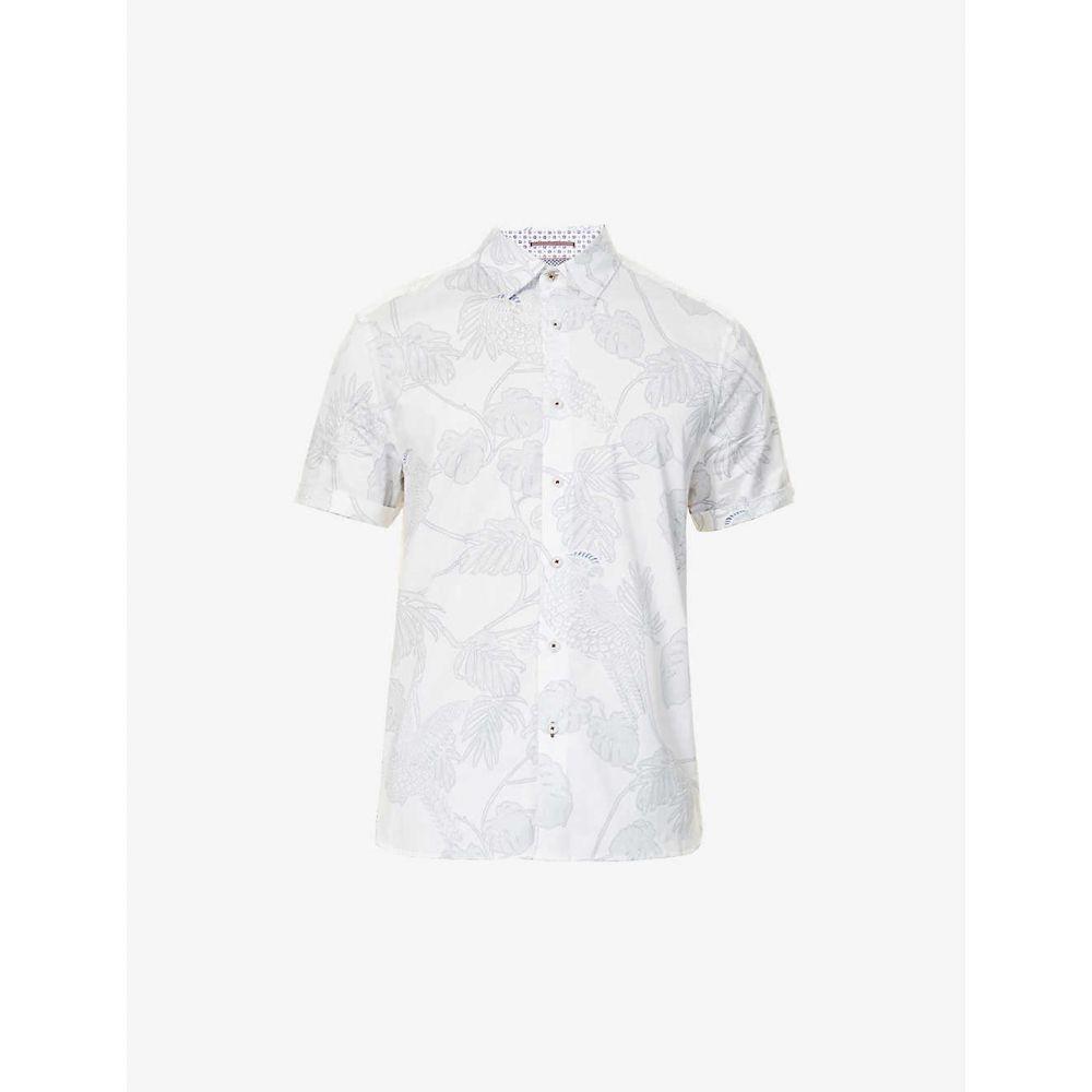 テッドベーカー TED BAKER メンズ 半袖シャツ トップス【Graphic-print stretch-cotton shirt】WHITE