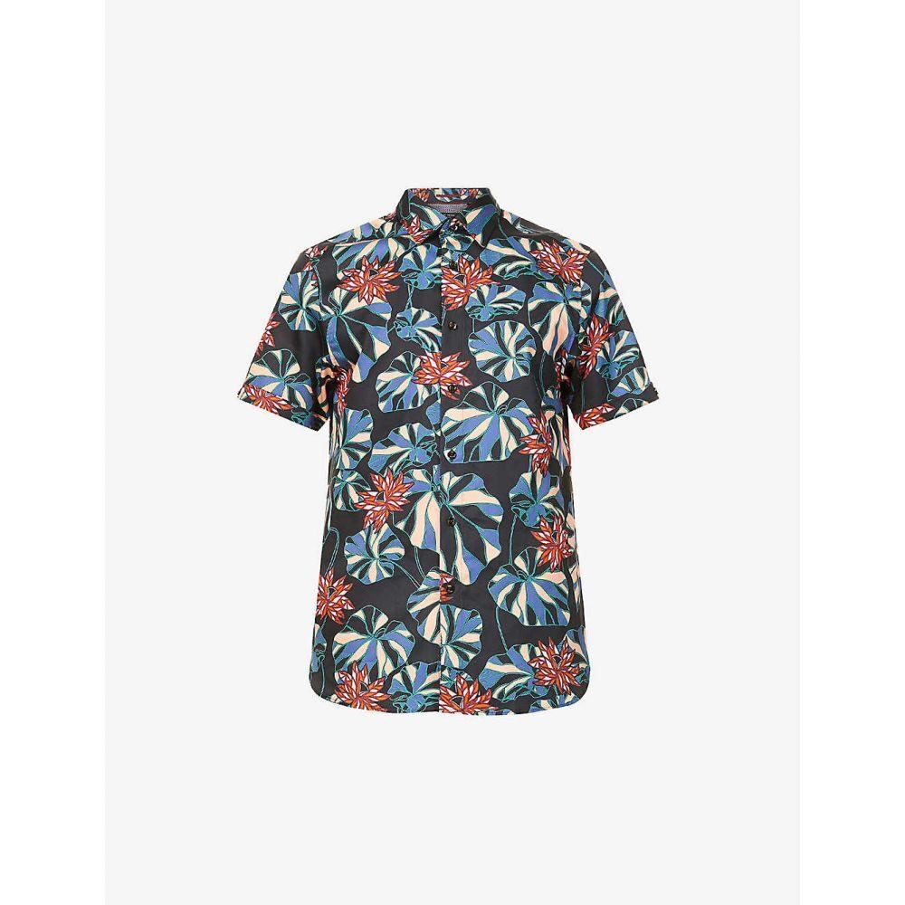テッドベーカー TED BAKER メンズ 半袖シャツ トップス【Graphic-print cotton shirt】NAVY