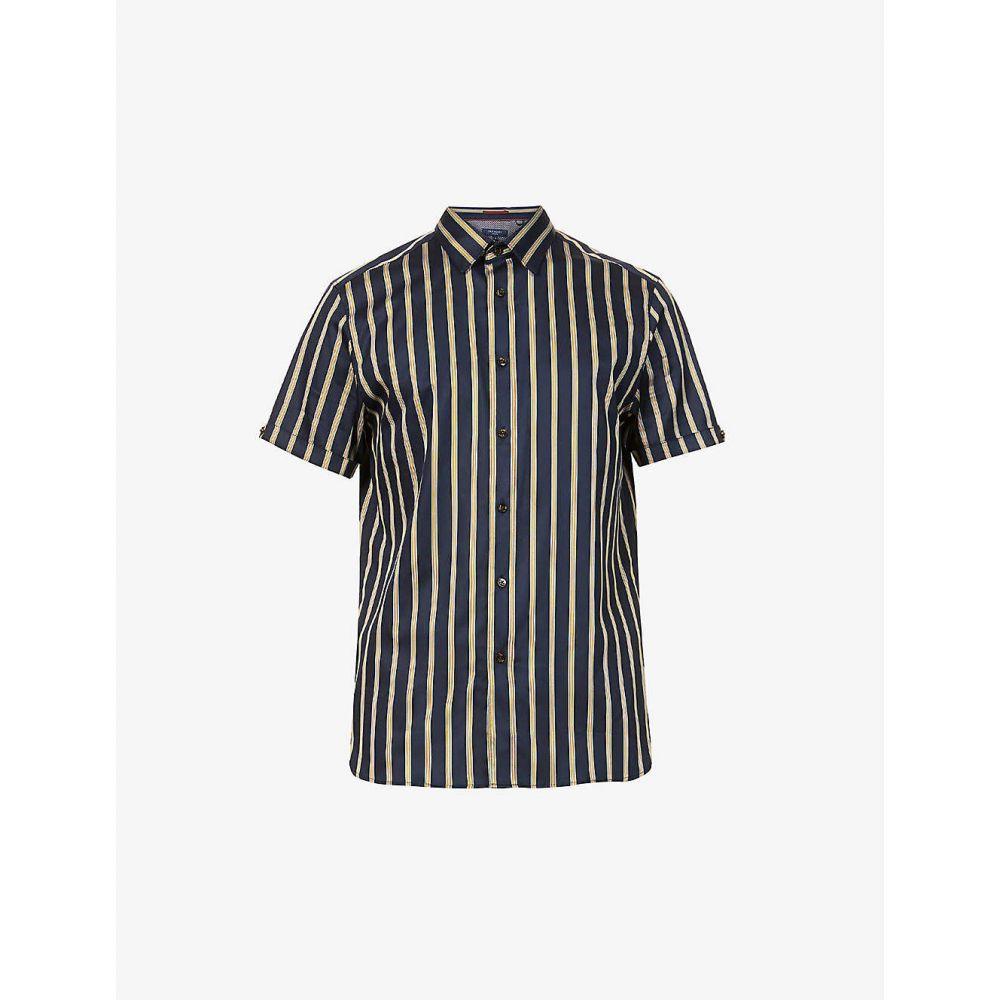 テッドベーカー TED BAKER メンズ 半袖シャツ トップス【Striped stretch-cotton shirt】NAVY