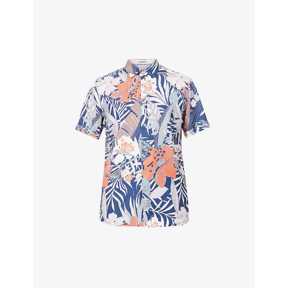 テッドベーカー TED BAKER メンズ 半袖シャツ トップス【Graphic-print cotton shirt】BLUE
