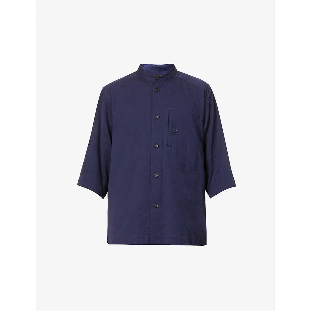 イッセイ ミヤケ ISSEY MIYAKE メンズ 半袖シャツ トップス【Mandarin-collar relaxed-fit cotton shirt】NAVY
