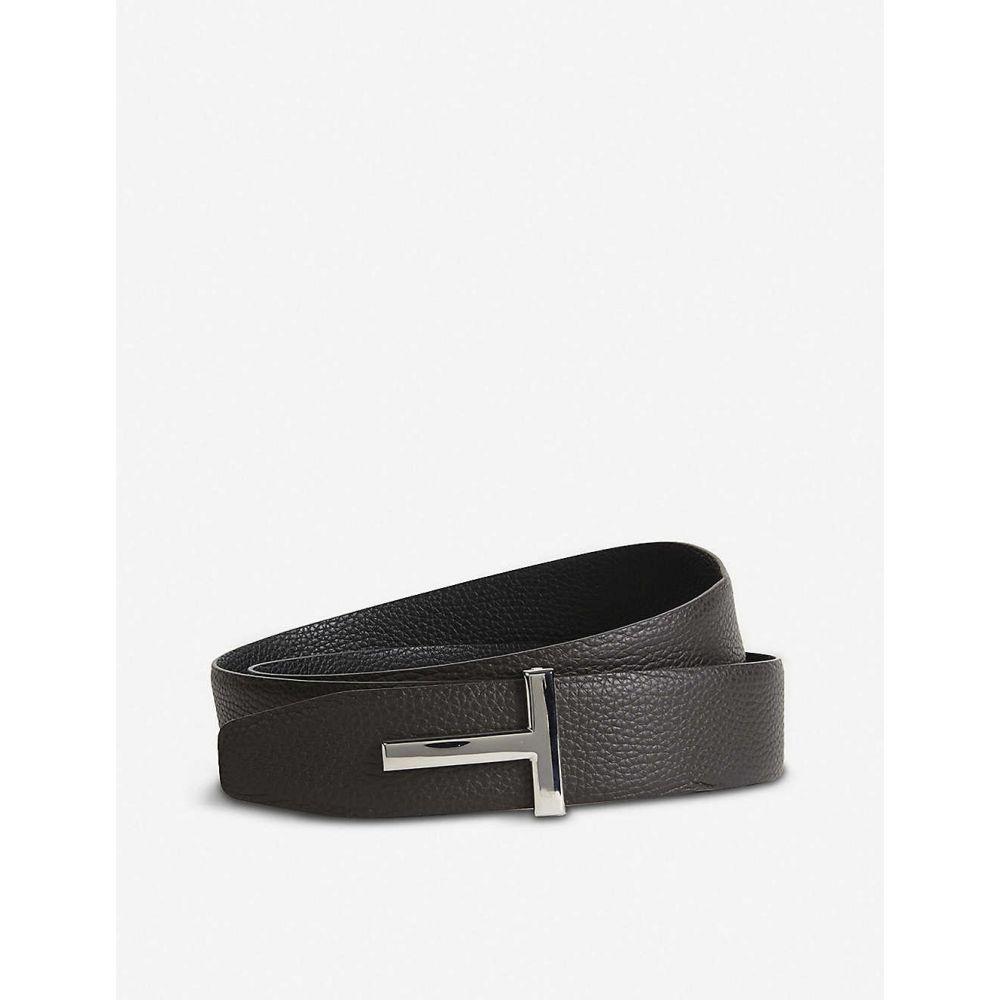 トム フォード TOM FORD メンズ ベルト 【Reversible T logo leather belt】BLACK BROWN SLV