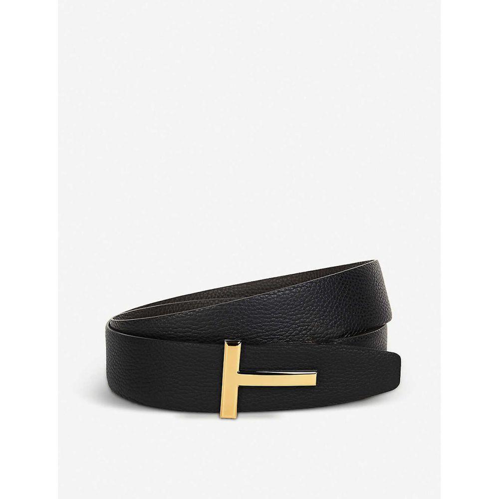 トム フォード TOM FORD メンズ ベルト 【Reversible T logo leather belt】BLACK/BROWN GLD