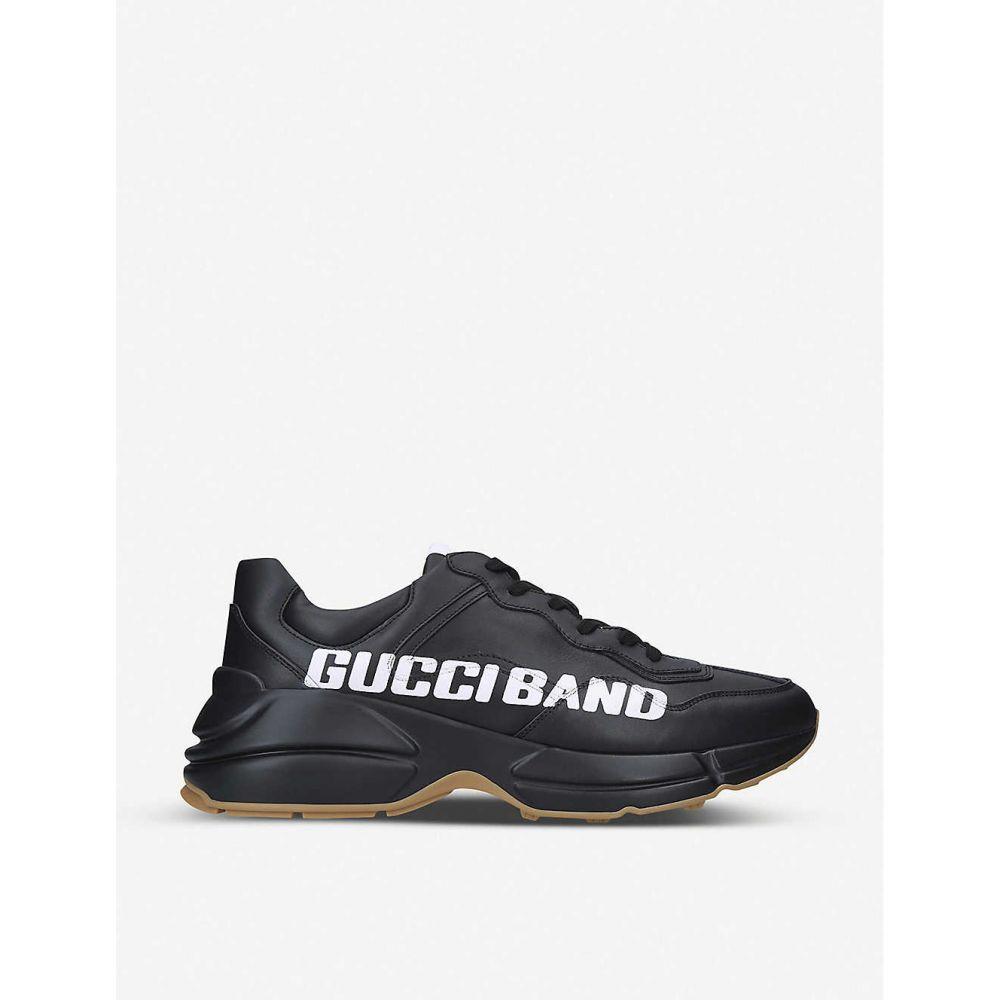 グッチ GUCCI メンズ ランニング・ウォーキング シューズ・靴【Rhyton logo leather running trainers】BLACK