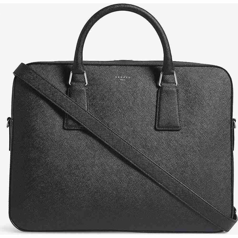 サンドロ SANDRO メンズ ビジネスバッグ・ブリーフケース バッグ【Saffiano leather briefcase】BLACK