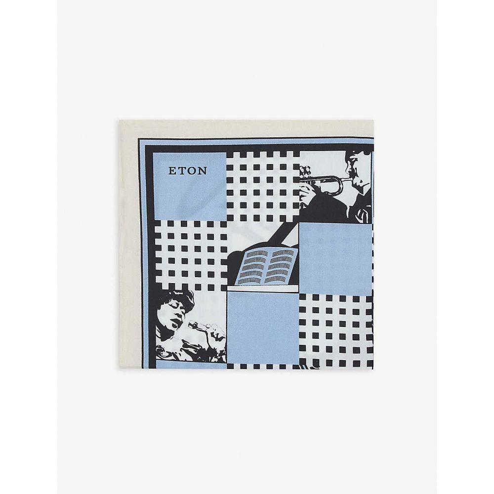 イートン ETON メンズ ハンカチ・チーフ 【Jazz-print cotton pocket square】Offwhite/Brown