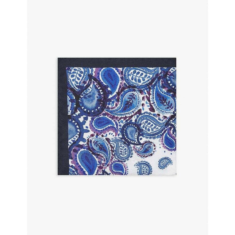 イートン ETON メンズ ハンカチ・チーフ 【Paisley-print silk pocket square】Blue