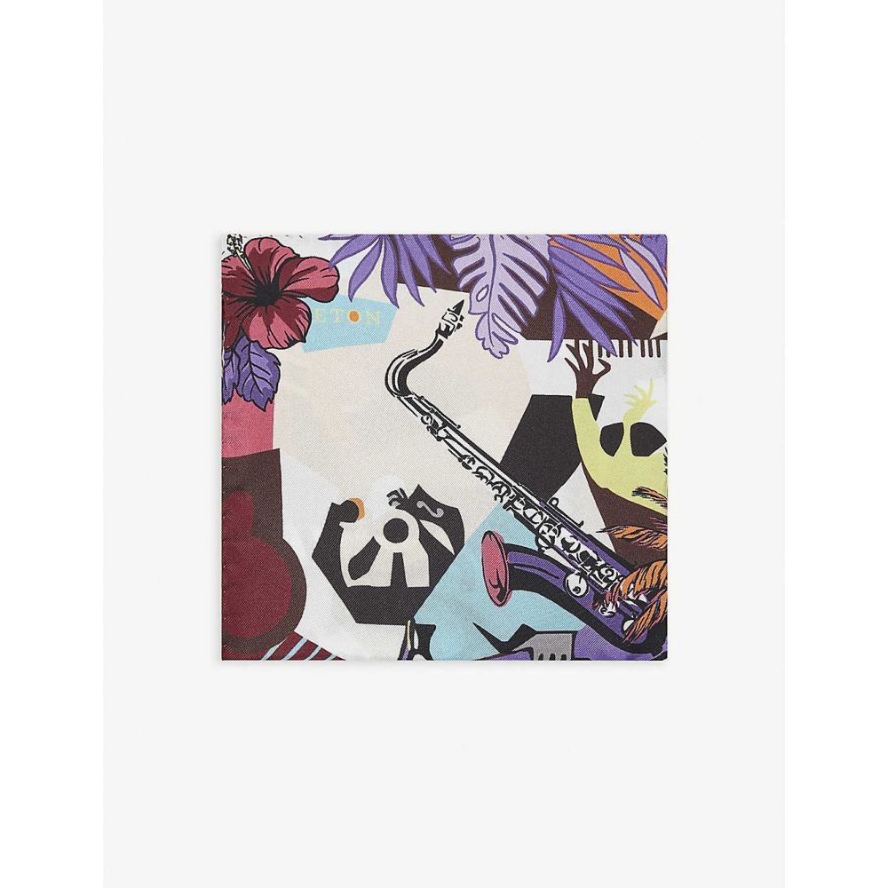 イートン ETON メンズ ハンカチ・チーフ 【Jazz-print cotton pocket square】Pink/Red