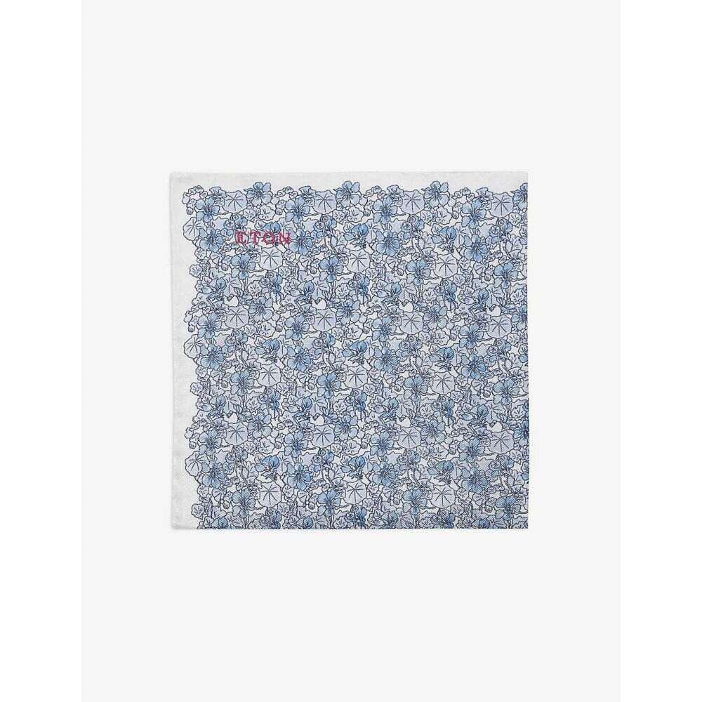 イートン ETON メンズ ハンカチ・チーフ 【Floral-print silk pocket square】Blue