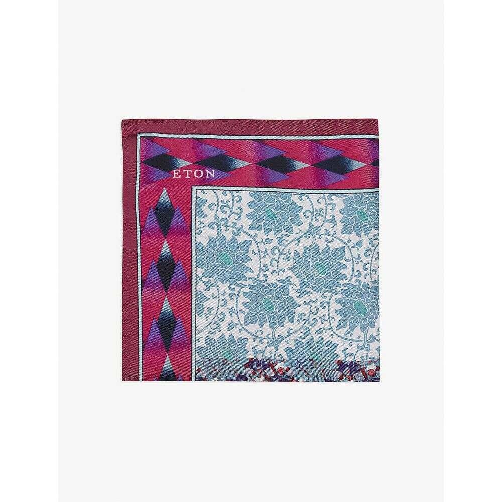 イートン ETON メンズ ハンカチ・チーフ 【Paisley-print silk pocket square】Pink/Red
