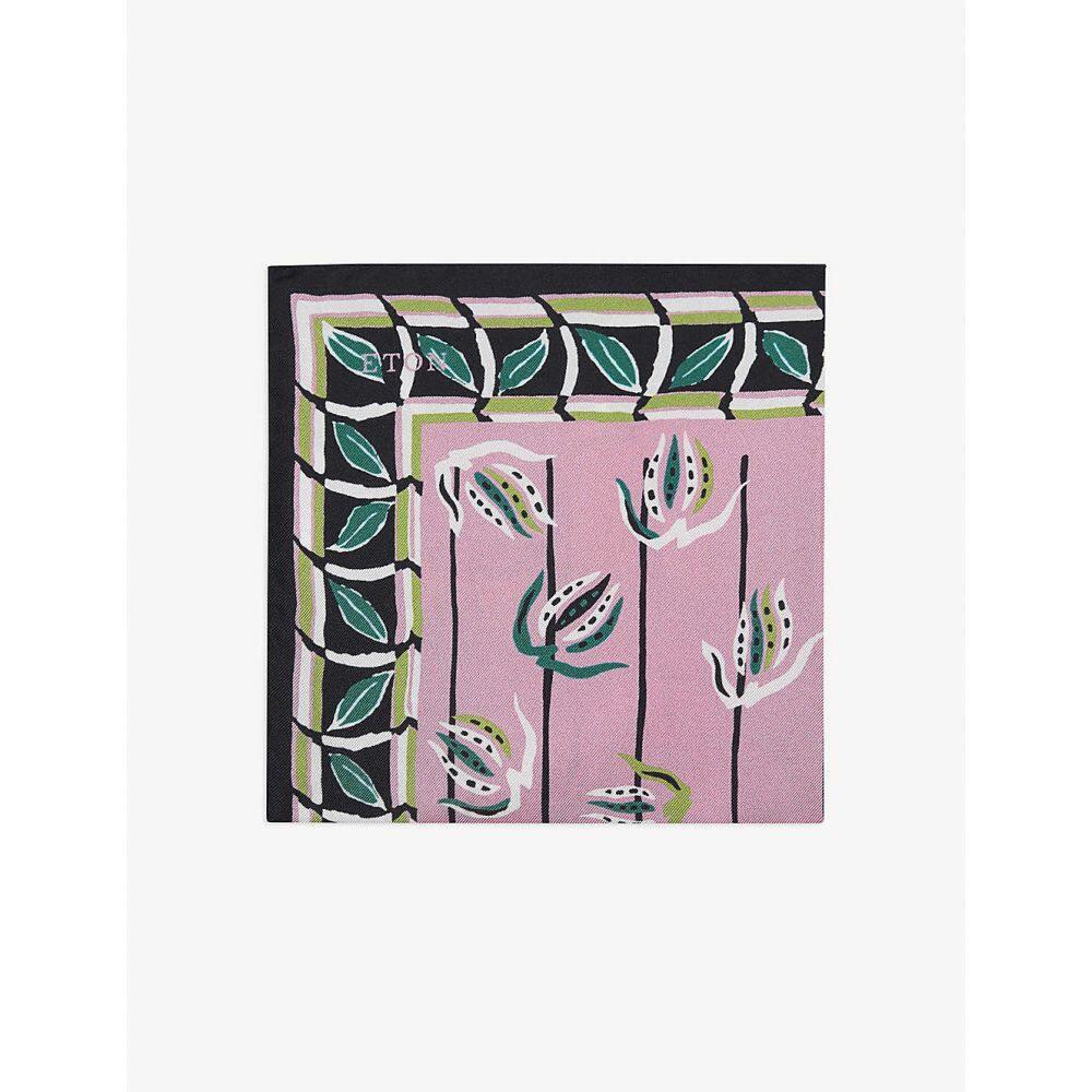 イートン ETON メンズ ハンカチ・チーフ 【Floral-print silk pocket square】Pink/Red