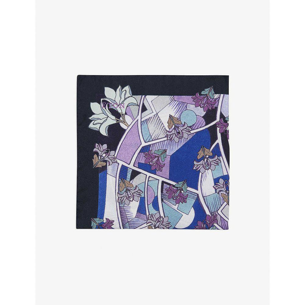 イートン ETON メンズ ハンカチ・チーフ 【Art Deco-print silk pocket square】Blue