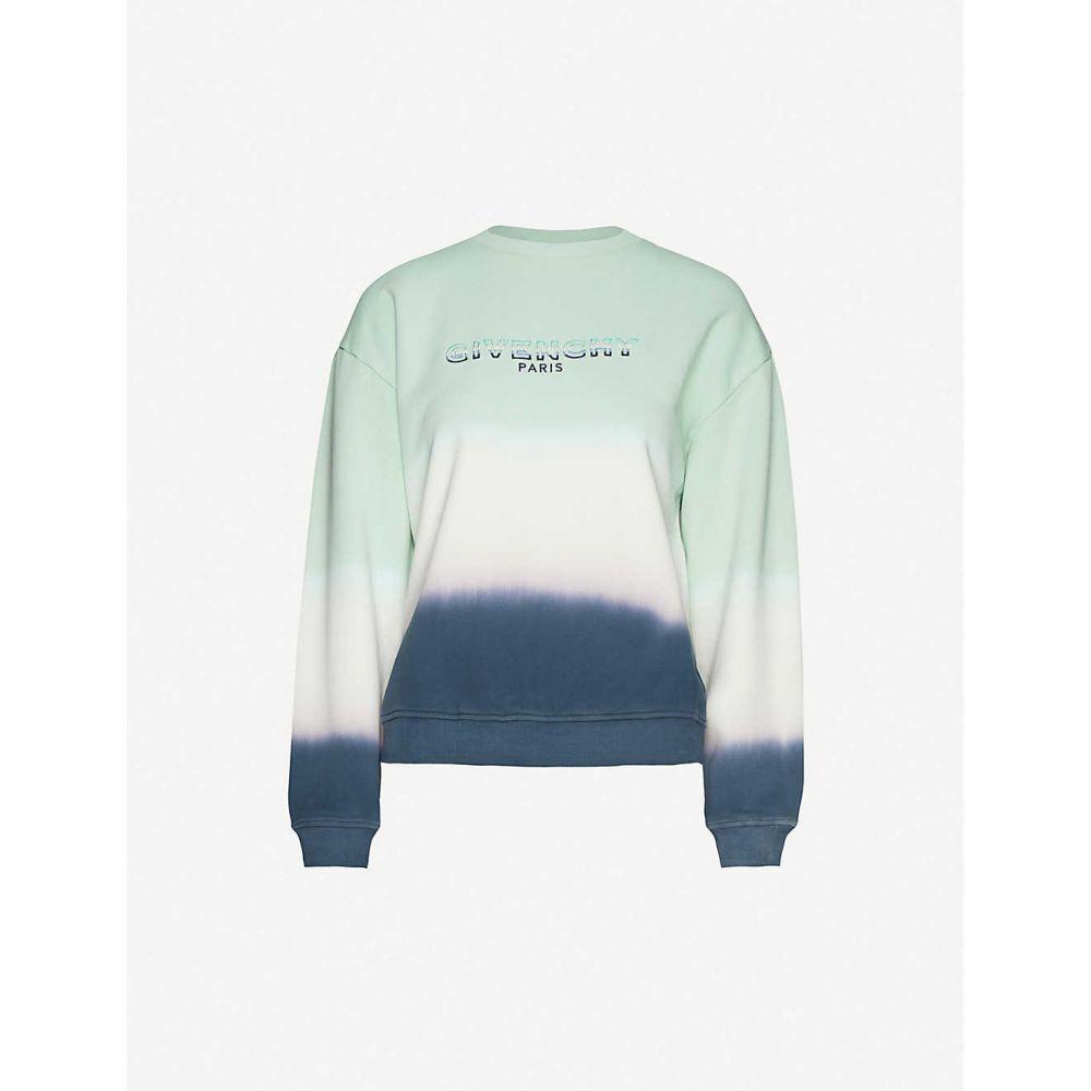 ジバンシー GIVENCHY レディース ニット・セーター トップス【Brand-embroidered tie-dye cotton-jersey jumper】BLUE/GREEN/WHITE