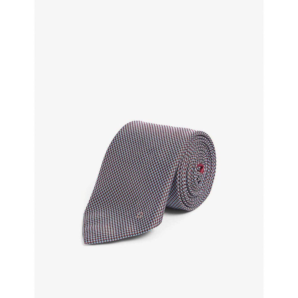 サルヴァトーレ フェラガモ SALVATORE FERRAGAMO メンズ ネクタイ 【Gianco-print arrow-pattern silk tie】F.azzurro/rosso