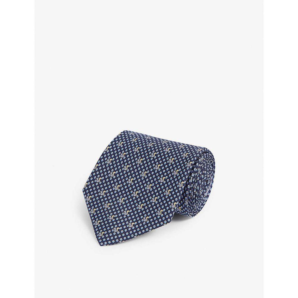 サルヴァトーレ フェラガモ SALVATORE FERRAGAMO メンズ ネクタイ 【Squirrel graphic-print silk tie】F.navy/azzurro