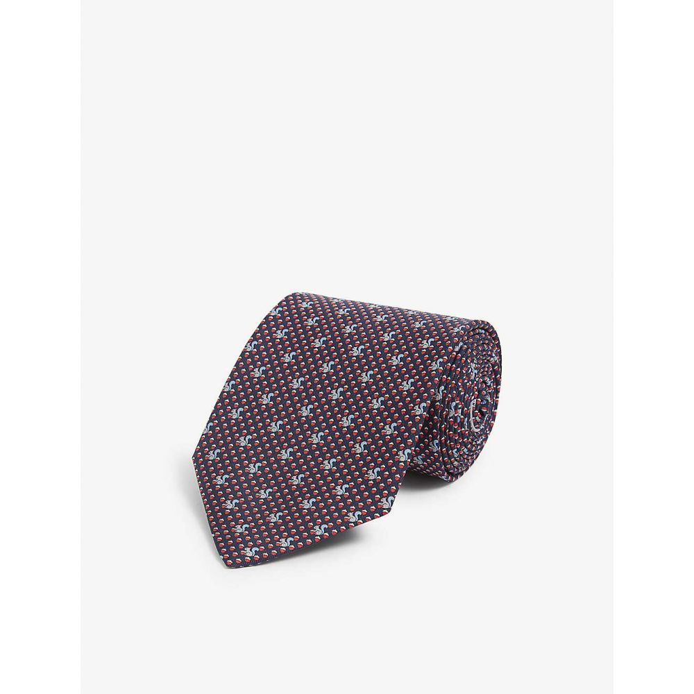 サルヴァトーレ フェラガモ SALVATORE FERRAGAMO メンズ ネクタイ 【Squirrel graphic-print silk tie】F.blu Scuro/rosso