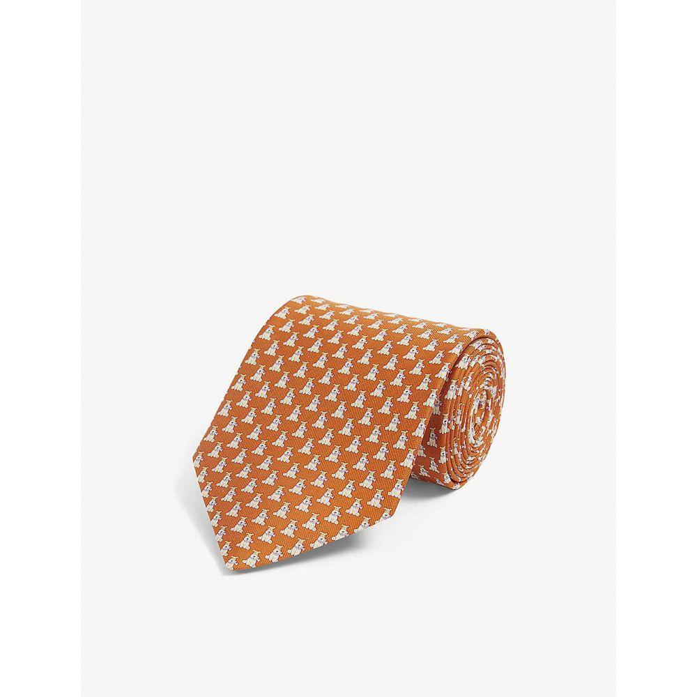 サルヴァトーレ フェラガモ SALVATORE FERRAGAMO メンズ ネクタイ 【Puppy graphic-print silk tie】F.arancio