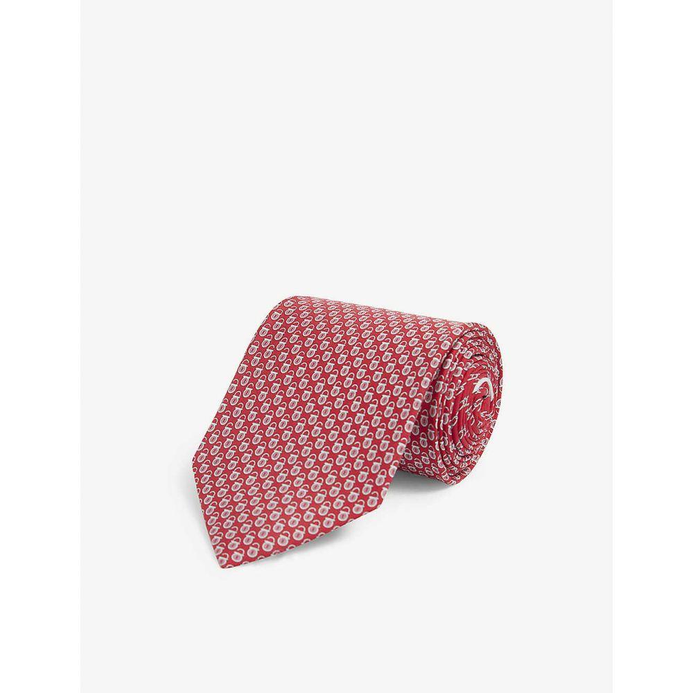 サルヴァトーレ フェラガモ SALVATORE FERRAGAMO メンズ ネクタイ 【Padlock graphic-print silk tie】F.ROSSO
