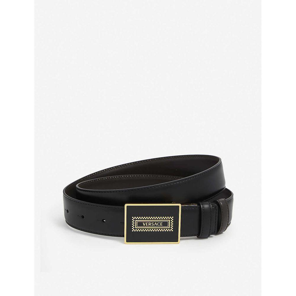 ヴェルサーチ VERSACE メンズ ベルト 【Logo-print leather belt】Nero Drk Coff