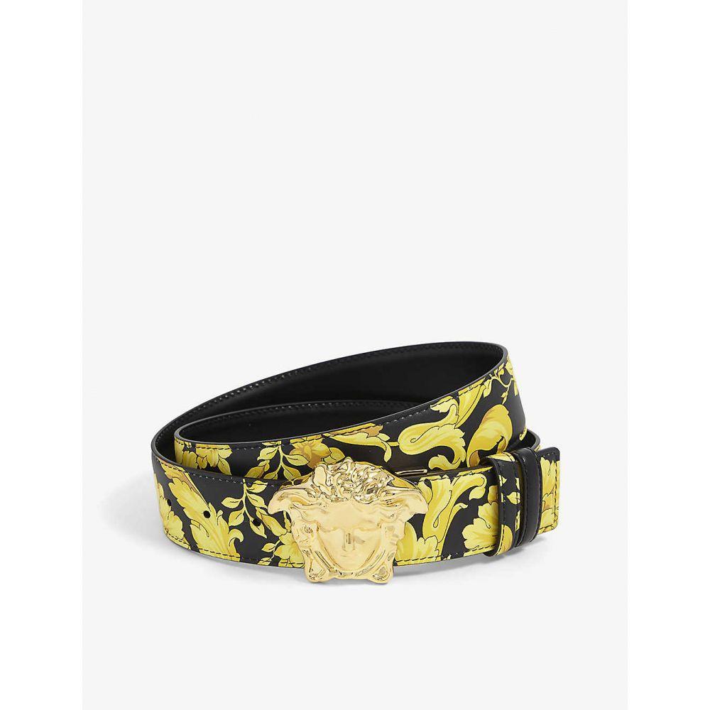 ヴェルサーチ VERSACE メンズ ベルト 【Floral-print leather belt】Multi Nero Gold