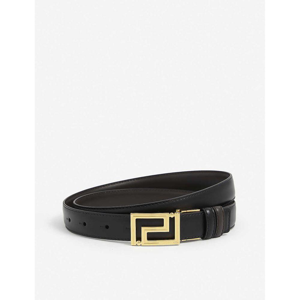 ヴェルサーチ VERSACE メンズ ベルト 【Leather belt】Nero Drk Coff