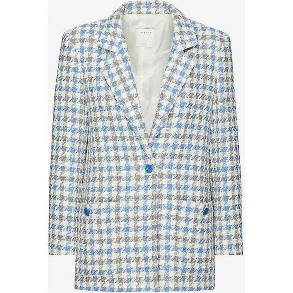 サンドロ SANDRO レディース スーツ・ジャケット アウター【Houndstooth-patterned tweed blazer】BLUE SKY