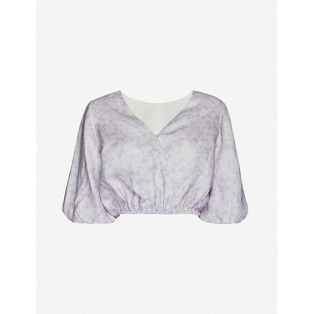 ポーニー PEONY レディース トップス 【Lavender floral-print linen top】Lavender