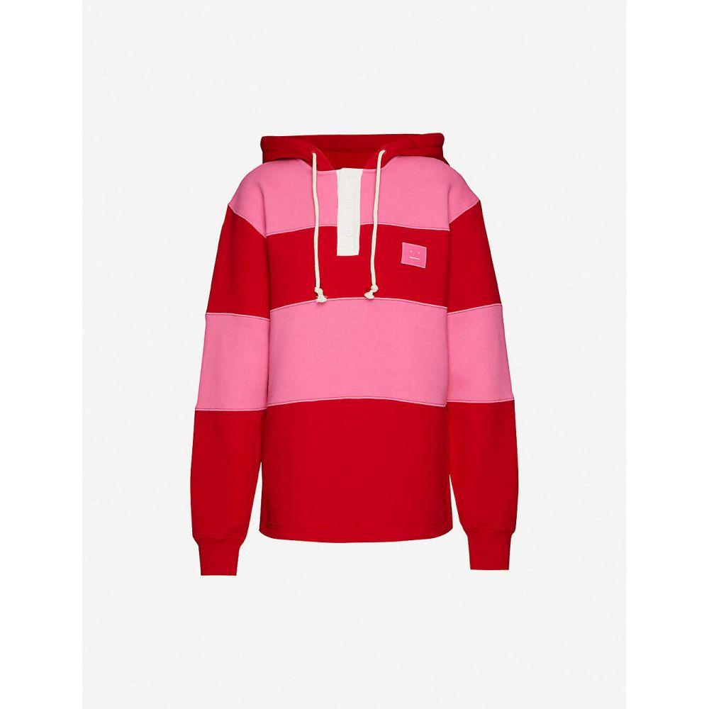 アクネ ストゥディオズ ACNE STUDIOS レディース パーカー トップス【Finten striped cotton jersey hoody】CHERRY RED