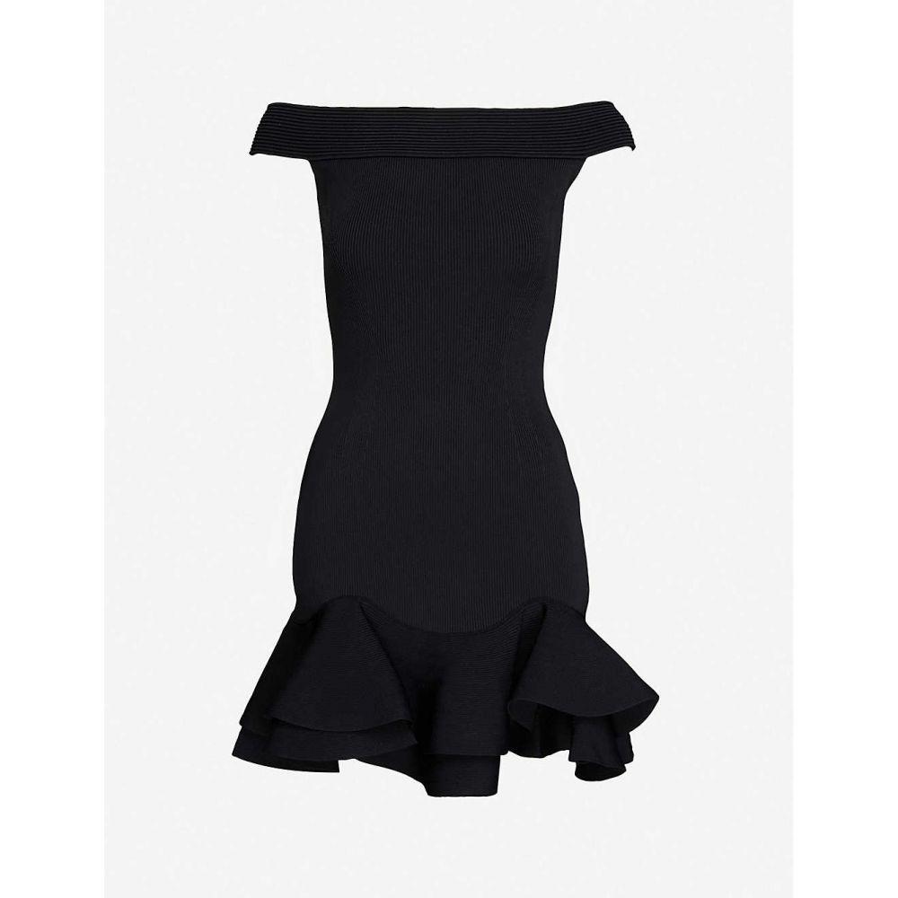 アレキサンダー マックイーン ALEXANDER MCQUEEN レディース パーティードレス ミニ丈 ワンピース ドレス Off-the-shoulder knitted mini dress BLACK