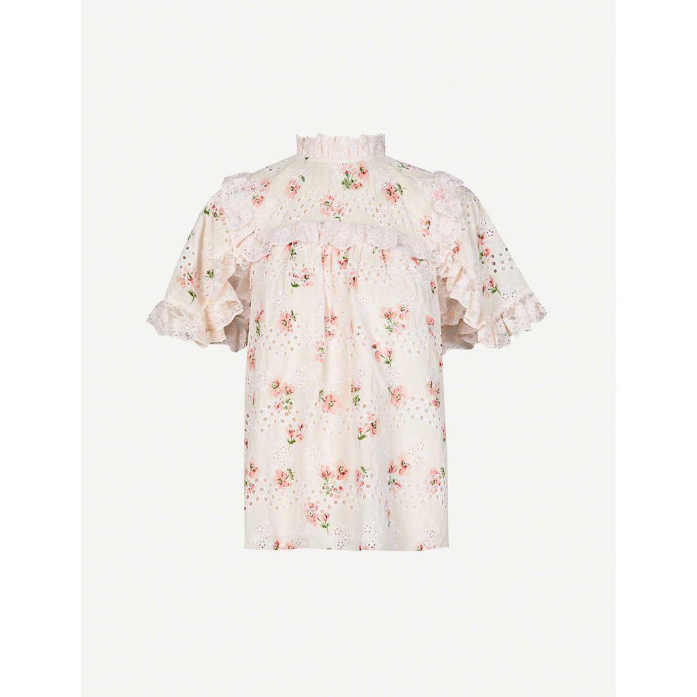ニードル アンド スレッド NEEDLE AND THREAD レディース トップス 【Desert Rose floral-embroidered cotton-blend top】Topaz Pink